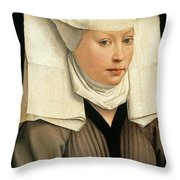 Portrait Of A Woman With A Winged Bonnet Throw Pillow