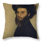 Portrait Of A Young Jewish Man  Throw Pillow by Isidor Kaufmann