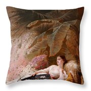 Portrait Of Adelaide Maria Guiness Reclining On A Sofa In A Conservatory Throw Pillow