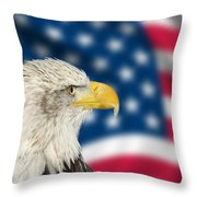 Portrait Of American Bald Eagle Against Usa Flag Stars And Strip Throw Pillow