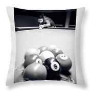 Portrait Of An Awesome Pool Player Throw Pillow