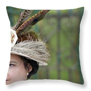 Portrait Of An Edwardian Woman With Feathered Hat Throw Pillow
