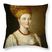 Portrait Of An Unknown Woman In Russian Costume Throw Pillow