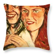 Portrait Of Andrew And Sarah Throw Pillow