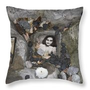 Portrait Of Anne Frank At The Children's Memorial At The Jewish Cemetery In Warshau Poland Throw Pillow