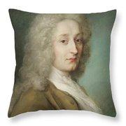 Portrait Of Antoine Watteau 1684-1721 Pastel On Paper Throw Pillow