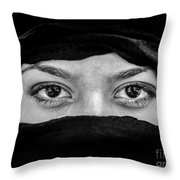 Portrait Of Beautiful Arab Woman Wearing Black Scarf In Black An Throw Pillow
