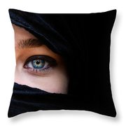 Portrait Of Beautiful Woman With Blue Eyes Wearing Black Scarf Throw Pillow