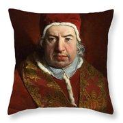 Portrait Of Benedict Xiv Throw Pillow