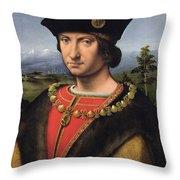 Portrait Of Charles Damboise 1471-1511 Marshal Of France Oil On Panel Throw Pillow
