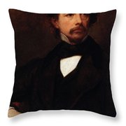 Portrait Of Charles Dickens Throw Pillow by Ary Scheffer