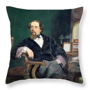 Portrait Of Charles Dickens Throw Pillow