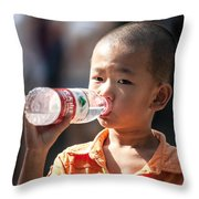 Portrait Of Chinese Child In Xian China Throw Pillow