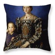 Portrait Of Eleanor Of Toledo With Her Son Giovanni De' Medici Throw Pillow