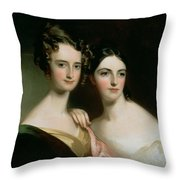 Portrait Of Ellen And Mary Mcilvaine, 1834 Oil On Canvas Throw Pillow