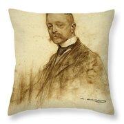 Portrait Of Emile Bertaux Throw Pillow