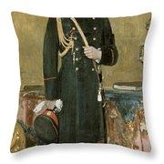 Portrait Of Emperor Nicholas II 1868-1918 1895 Oil On Canvas Throw Pillow