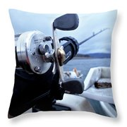 Portrait  Of Fishing Reel On Boat While Throw Pillow
