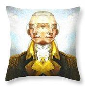 Portrait-of-george Washington Vert  2  Throw Pillow