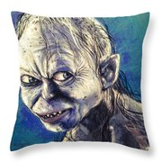 Portrait Of Gollum Throw Pillow