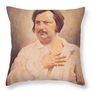 Portrait Of Honore De Balzac Throw Pillow