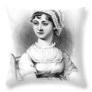 Portrait Of Jane Austen Throw Pillow by English School