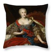 Portrait Of Johanna-elizabeth, Electress Of Anhalt-zerbst, C.1746 Oil On Canvas Throw Pillow