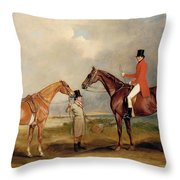 Portrait Of John Drummond On A Hunter With A Groom Holding His Second Horse Throw Pillow