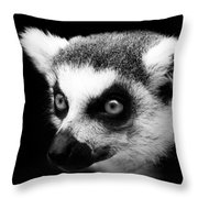 Portrait Of Lemur In Black And White Throw Pillow