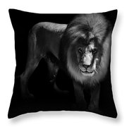 Portrait Of Lion In Black And White Throw Pillow