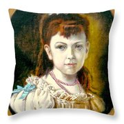 Portrait Of Little Girl Throw Pillow