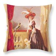 Portrait Of Louise-elisabeth De France 1727-59 Duchess Of Parma And Her Son Ferdinand 1751-1802 Throw Pillow