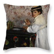Portrait Of Mademoiselle Hortense Valpincon Throw Pillow