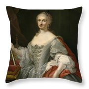 Portrait Of Maria Amalia Of Saxony As Queen Of Naples Overlooking The Neapolitan Crown Throw Pillow