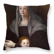 Portrait Of Maria Salviati De' Medici With Giulia De' Medici Throw Pillow