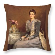 Portrait Of Mary Chamberlain Throw Pillow