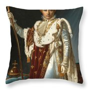 Portrait Of Napoleon In Coronation Robes Throw Pillow