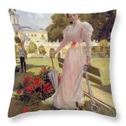 Portrait Of Princess Z.n Yusupova With Her Two Sons At Arkhangelskoe Throw Pillow