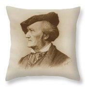 Portrait Of Richard Wagner German Throw Pillow
