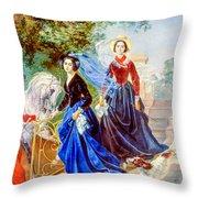 Portrait Of Sisters Shishmarev Throw Pillow
