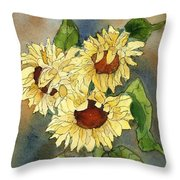 Portrait Of Sunflowers Throw Pillow
