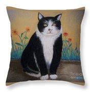 Portrait Of Teddy The Ninja Cat Throw Pillow