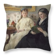 Portrait Of The Artist S Mother And Sister Throw Pillow