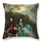 Portrait Of The Artist With His Wife And Daughter Throw Pillow