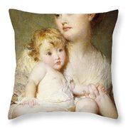 Portrait Of The Duchess Of St Albans With Her Son Throw Pillow