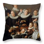Portrait Of The Painter Andries Van Bochoven And His Family Throw Pillow