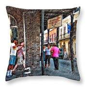 Portrait Of The Street Musician Sketch  Throw Pillow