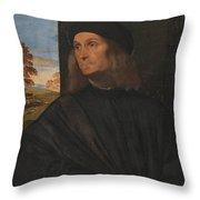 Portrait Of The Venetian Painter Giovanni Bellini Throw Pillow
