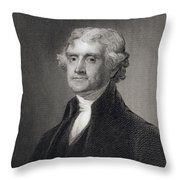 Portrait Of Thomas Jefferson Throw Pillow by Henry Bryan Hall