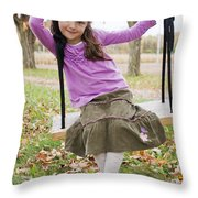 Portrait Of Young Girl On Swing Throw Pillow by Vast Photography